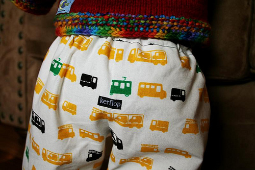 Flannel lined baby pants