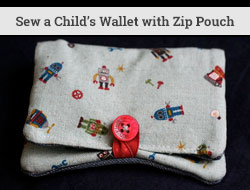 sew a child's wallet with zip pouch