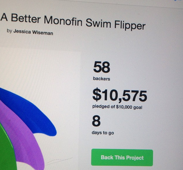 Mermaid monofins can be funded on kickstarter!