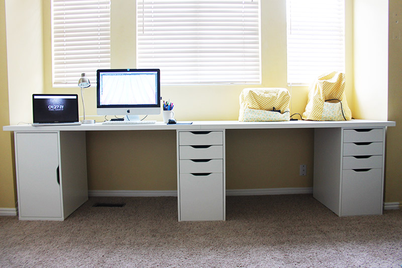Office Space With The Ikea Alex System And Linnmon Table Tops